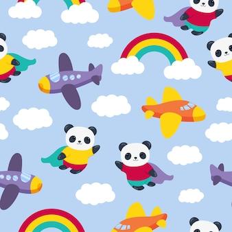 Panda cute cartoon seamless pattern mit flugzeugen und regenbogen