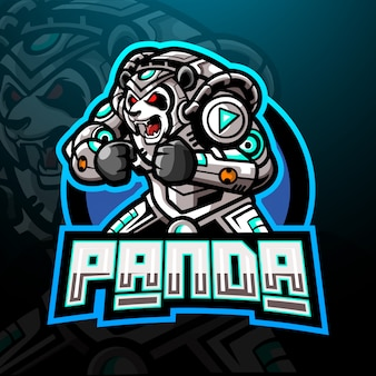 Panda cyber esport logo maskottchen design.