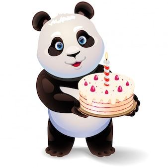 Panda, der geburtstagskuchenillustration hält.