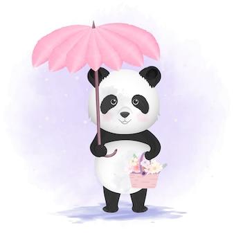 Panda, der regenschirm- und blumenkorbillustration hält