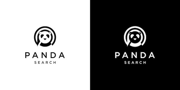 Panda-design mit suchmaschinen-logo-vorlage