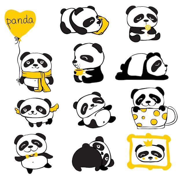 Panda doodle kid set einfaches design aus süßen pandas und anderen individuellen elementen perfekt für kinderauto...