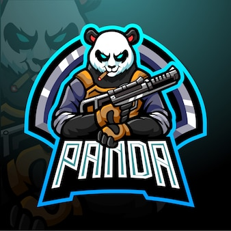 Panda esport logo maskottchen design