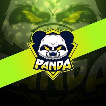 Panda esport maskottchen logo design