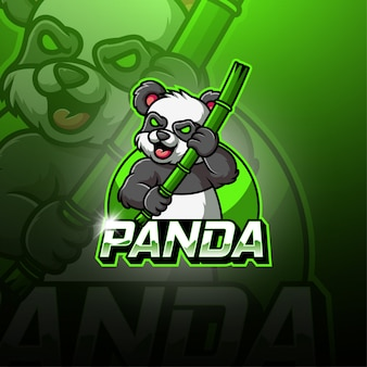 Panda esport maskottchen logo