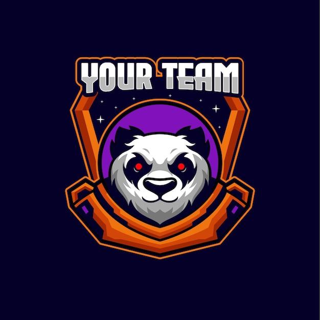 Panda esports logo maskottchen vorlage