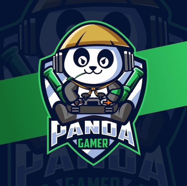 Panda gamer maskottchen esport logo