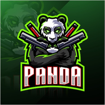 Panda gunner esport maskottchen-logo