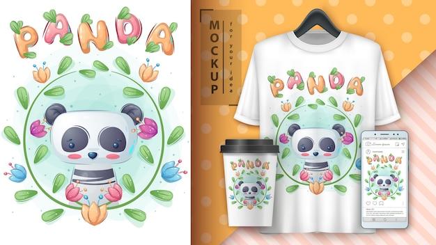 Panda in blüte. plakat und merchandising