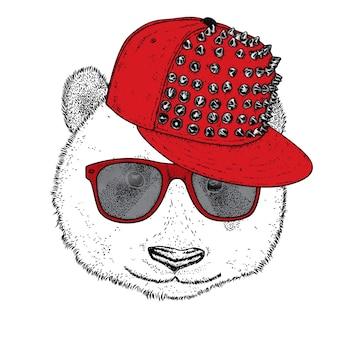 Panda in mütze und brille