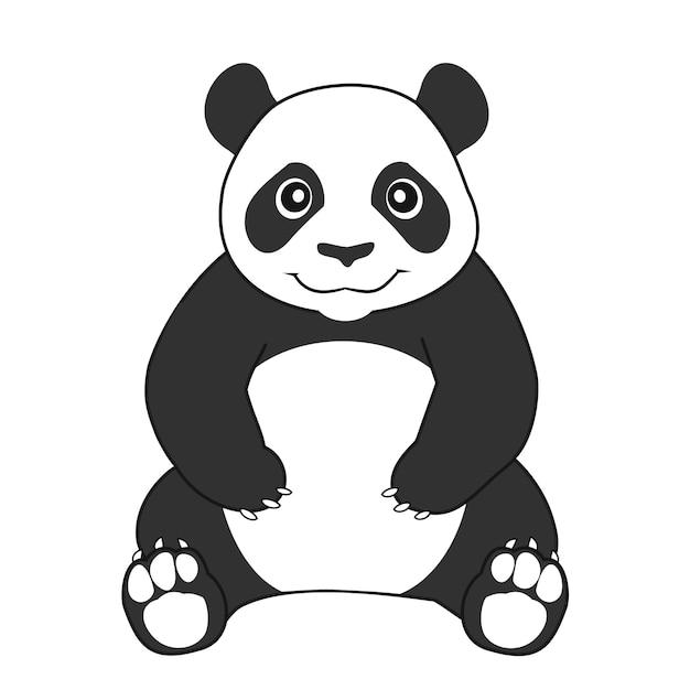 Panda isoliert auf weißem hintergrund. illustration.