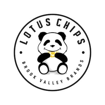 Panda isst logo-inspirationschips niedlichen cartoon-cookie-vektor