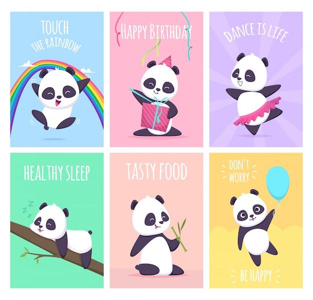 Panda-karten. niedliche kleine bärentiere decken plakatschablonensammlung ab