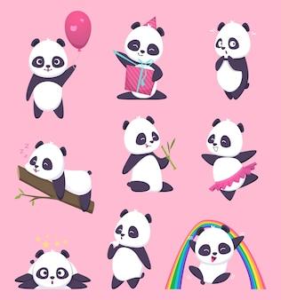 Panda kinder. kleine lustige bärensüße tiere in aktion wirft zeichentrickfiguren auf