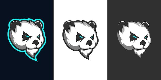 Panda kopf e sport maskottchen logo design