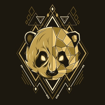 Panda kopf geometrie stil illustration