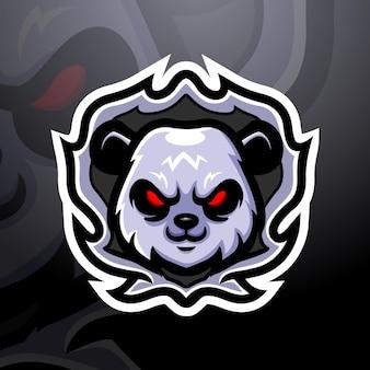 Panda kopf maskottchen esport illustration