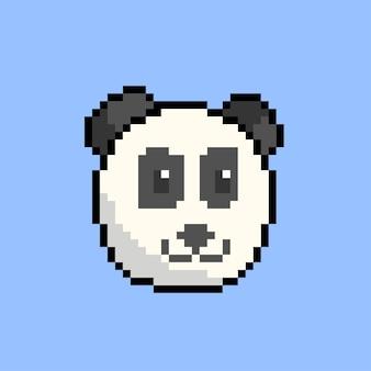 Panda-kopf mit pixel-art-stil