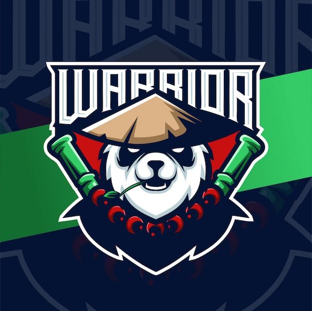 Panda krieger kung fu maskottchen esport logo