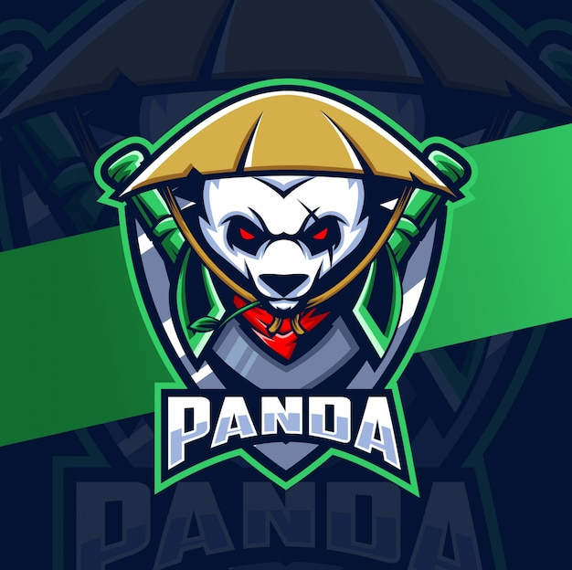 Panda krieger maskottchen esport logo