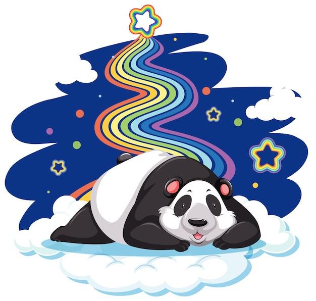 Panda liegt auf der wolke mit regenbogen