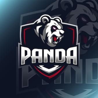 Panda logo maskottchen illustration für teamvorlage