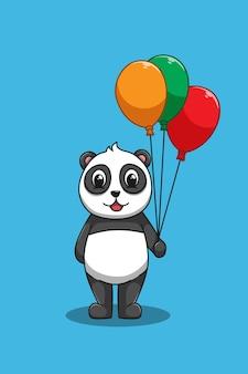 Panda mit ballonkarikaturillustration