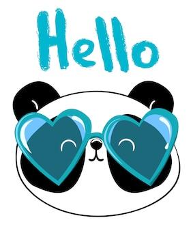 Panda mit glasvektorillustration