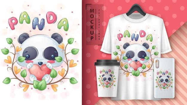 Panda mit herzplakat und merchandising