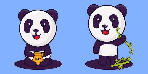Panda mit honig- und bambusillustration