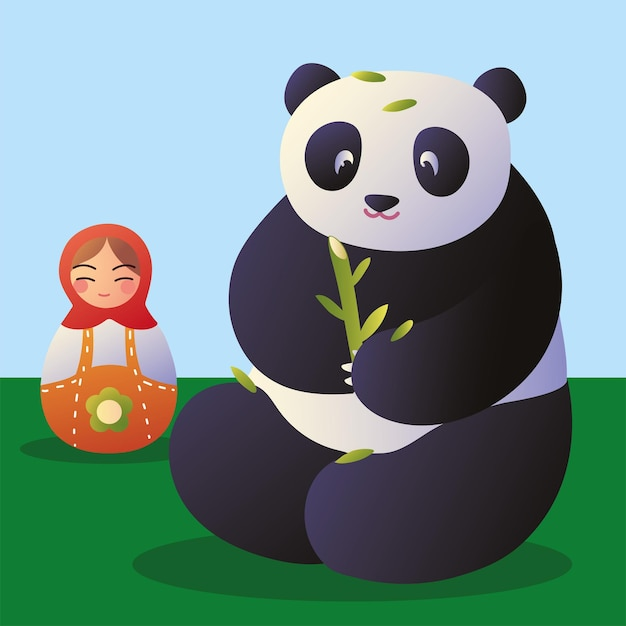 Panda mit matroschka-puppe