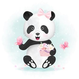 Panda mit schmetterlings- und blumenkorbillustration