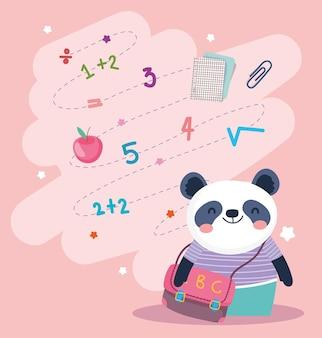 Panda mit schulranzen