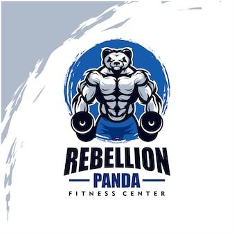 Panda mit starkem körper, fitnessclub oder fitnessstudio-logo. gestaltungselement für firmenlogo, etikett, emblem, bekleidung oder andere waren. skalierbare und bearbeitbare illustration