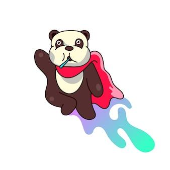 Panda niedlicher illustrations-maskottchen-logo-charakter