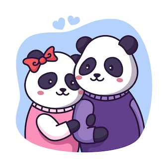 Panda-paar mit herzen