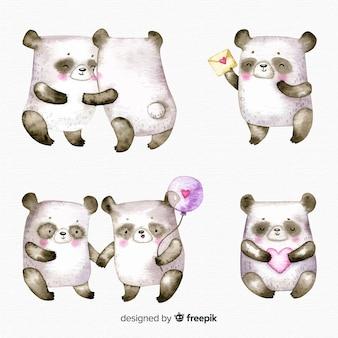 Panda-sammlung zum valentinstag
