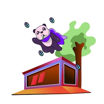 Panda super hero a flying