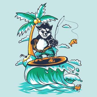 Panda surfing illustration