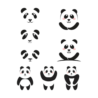 Panda-symbol vorlage vektor-illustration-design
