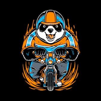 Panda trägt einen helm und spielt ein kleines fahrrad
