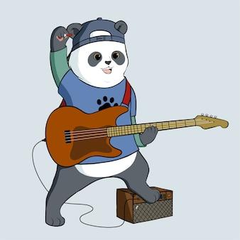 Panda trägt hut, der gitarrenillustration spielt