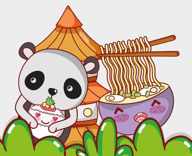 Panda und japanisches essen