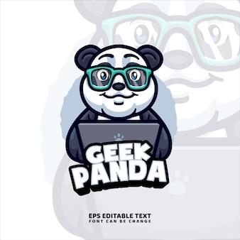 Panda working mascot logo vorlage