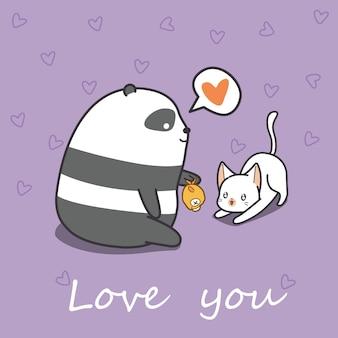 Panda zieht katze in der karikaturart ein.
