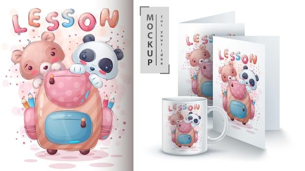 Pandabär mit schultaschenposter und merchandising vector eps 10