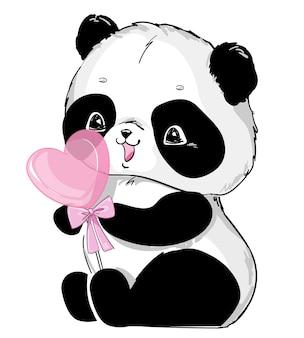 Pandabär mit süßigkeitenherzillustration