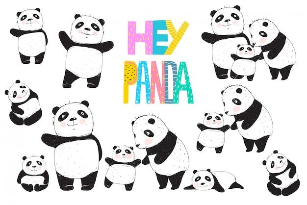 Pandas schwarz-weiß-eltern- und kindersammlung.