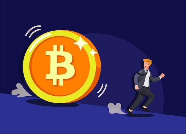 Panik des mannes, der von der karikatur des zusammenbruchs des riesigen bitcoin-kryptowährungsgeschäfts rennt