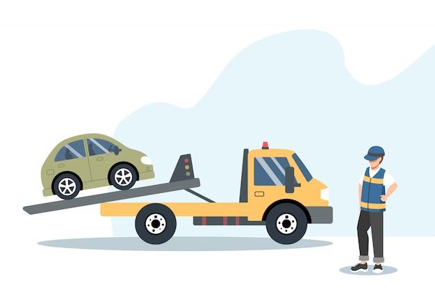 Pannenhilfe- und autoversicherungskonzept: defektes auto auf einem abschleppwagen.